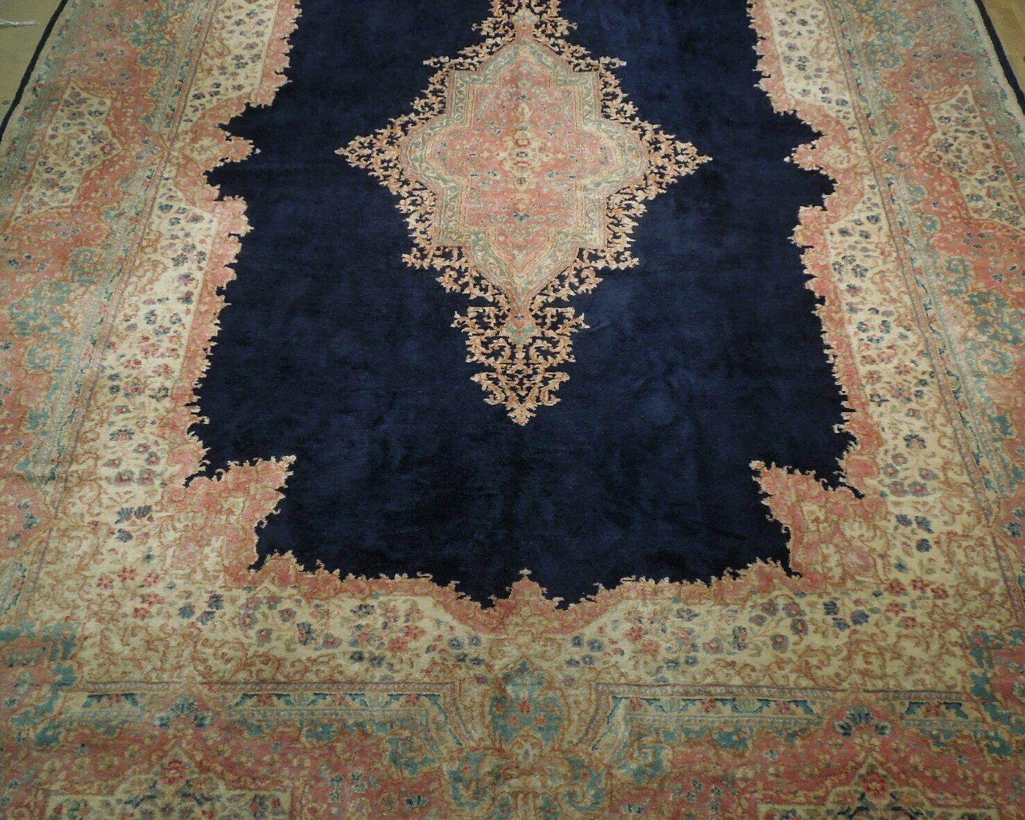 11x17 Navy Blue Handmade Open Field Durable Fine Original Persian Rug image 9