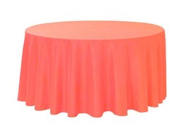 """2 Plastic Round Tablecloths 82"""" Diameter Table Cover - Coral - $7.91"""