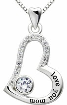 """I Love you MOM"" Heart Necklace Embellished with Swarovski Crystals in 1... - $20.57"
