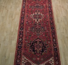 Tribal Inspired Olde Runner Persian Hand-Knotted 2' x 11' Red Heriz Wool Rug image 9
