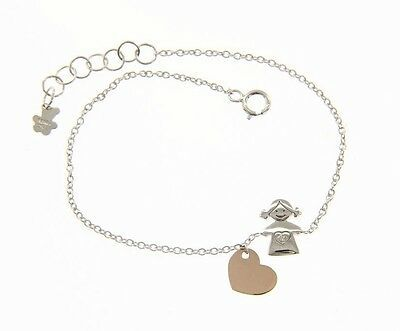 18K WHITE AND ROSE GOLD BRACELET FOR KIDS WITH CHILD GIRL HEART MADE IN ITALY