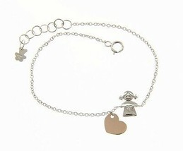 18K WHITE AND ROSE GOLD BRACELET FOR KIDS WITH CHILD GIRL HEART MADE IN ITALY image 1