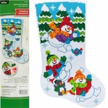 Bucilla Gem Dots Sledding Snowmen Christmas Craft Facet Art Stocking Kit... - $39.95