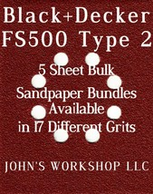 Black+Decker FS500 Type 2 - 1/4 Sheet - 17 Grits - No-Slip - 5 Sandpaper Bundles - $7.14
