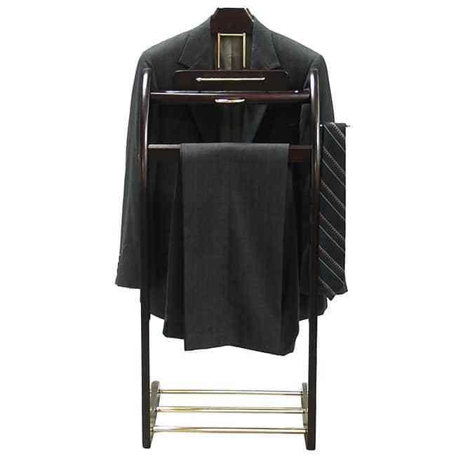 Valet Garment Stand Suit Uniform Executive Mens Wood Rack Organizer