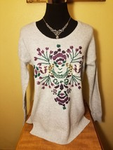 NWT Sonoma Embroidered Thick Soft Fuzzy Knit Sweater - Heather Gray - $60.76