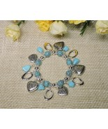 Antique Style Stretch Silver Plated Heart Charm Oval Turquoise Bangle Br... - $14.80