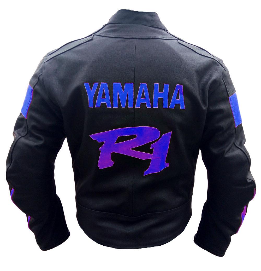 New handmade yamaha yzf r1 black motorbike leather jacket for Yamaha r1 motorcycle jackets