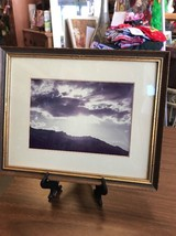 Wall Hanging Framed Photograph Of The Sun Setting Over The Hills - $12.45
