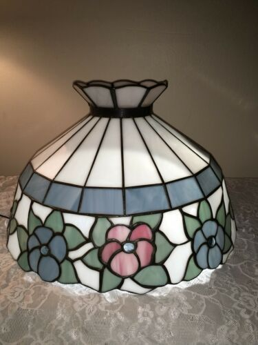 "Primary image for  Vintage ""Glass Reflections"", Lt. Blue & Pink Floral Stained Glass Lampshade 16"""