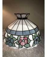 "Vintage ""Glass Reflections"", Lt. Blue & Pink Floral Stained Glass Lamps... - €123,84 EUR"