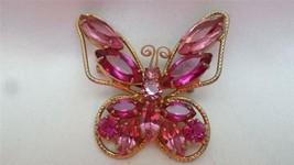 Vintage Juliana Goldtone Fuchsia Pink Open Back Rhinestone Butterfly Brooch Pin - $99.00
