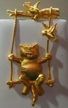 Vintage Signed JJ Gold-tone Cat on a Swing Brooch Birds - $17.81