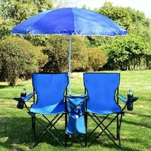 NEW Portable Folding Picnic Camping Beach Double Chair with Umbrella Cooler - £50.15 GBP