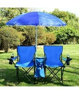 NEW Portable Folding Picnic Camping Beach Double Chair with Umbrella Cooler - £50.50 GBP