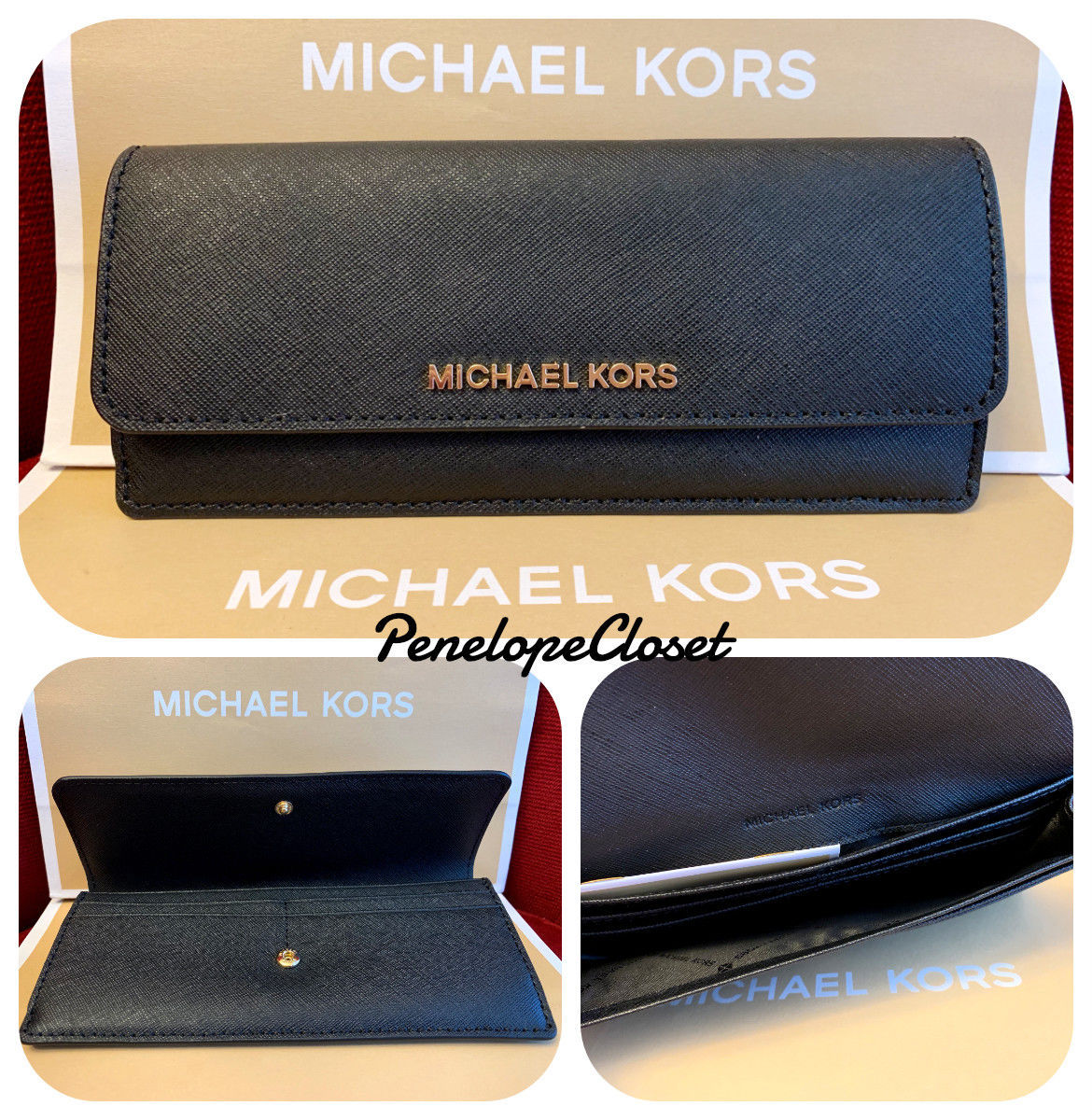 7987249a10c39 NWT MICHAEL KORS JET SET TRAVEL SAFFIANO LEATHER FLAT WALLET IN BLACK -   49.88
