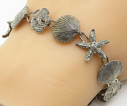 925 Sterling Silver - Vintage Starfish Seashell Charmed Chain Bracelet -... - $44.04