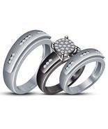 Unisex Engagement Ring Matching Wedding Band Trio Set 14k Gold Plated 92... - $153.66