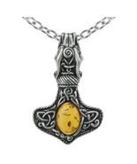 Alchemy Gothic Amber Dragon Thorhammer Pendant Celtic Mjolnir Necklace P728 - $44.95