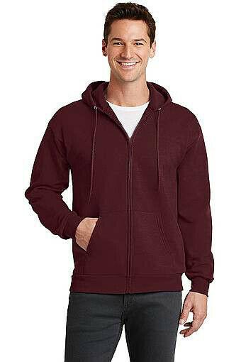 Men's Classic Solid Burgundy Zip Up Sweatshirt Drawstring Hood Sweater Jacket