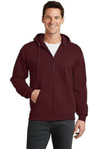 Men's Classic Solid Burgundy Zip Up Sweatshirt Drawstring Hood Sweater Jacket