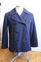 Vtg Abercrombie & Fitch M Navy Blue Wool Double Breasted Pea Coat Italy ... - $83.60