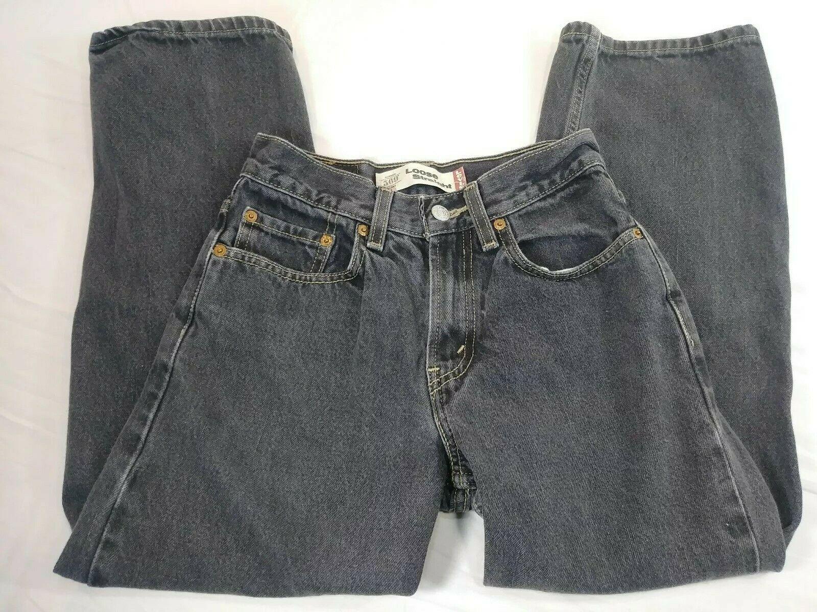 Boys Youth Levi's 569 Loose Straight Jeans Size 12 Black Denim (#7)