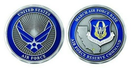 "MARCH AIR FORCE BASE RESERVE COMMAND 1.75"" CHALLENGE COIN - $16.24"