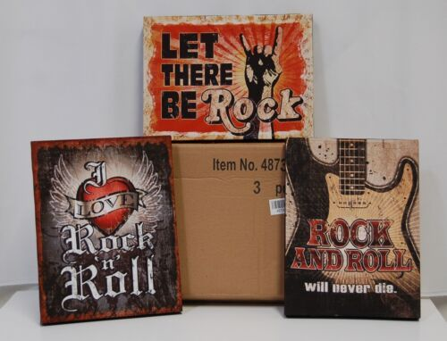 Giftcraft 487365 Rock N Roll 3 Piece Wall Art Stretched Canvas Fir Wood