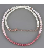 Mother Pearl, Pink Opal & Rhodonite Necklace in Rose Gold Plated Silver ... - $29.99