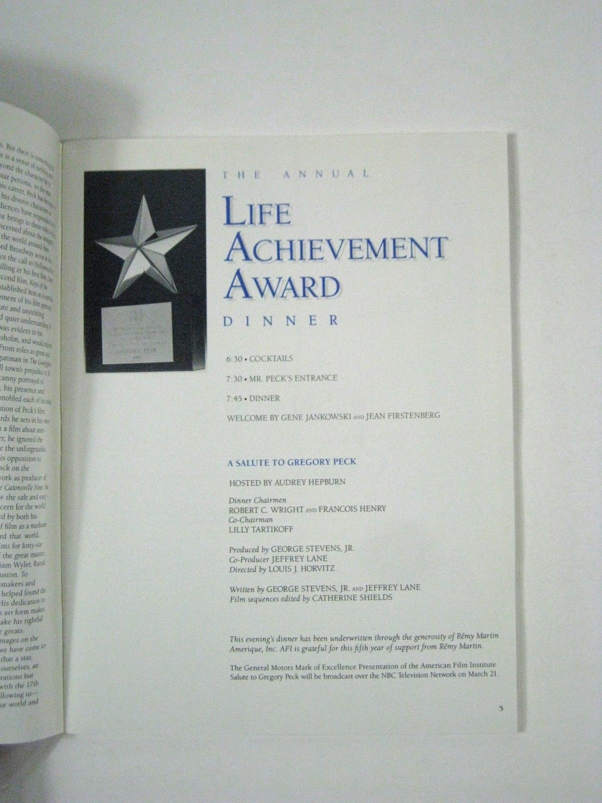 Gregory Peck 17th American Film Institute Life Achievement Award Program 1989