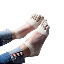 PANDA SUPERSTORE Beige Summer Low Cut Five Toes Socks Cotton Ankle Socks for Wom