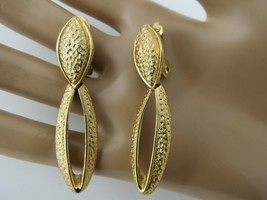 """VTG Monet Luxury Clip Earrings Drop Dangle Gold Tone Finish Hammered Texture 2"""" - $17.81"""
