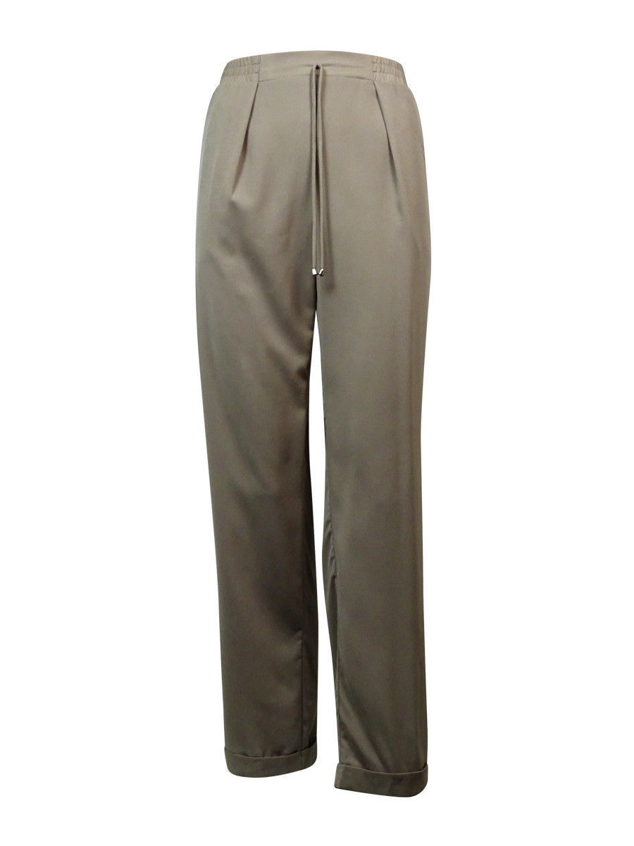 NY Collection Women's Pleated Drawstring Pants XL, Mushroom
