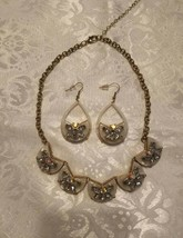Vintage Aurora Borealis & mother of pearl Necklace &  earrings set - $30.00
