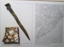 Framed 1854 Shipwreck Artifact Souvenir Delia Marie Hilton Head Brass Spike image 7