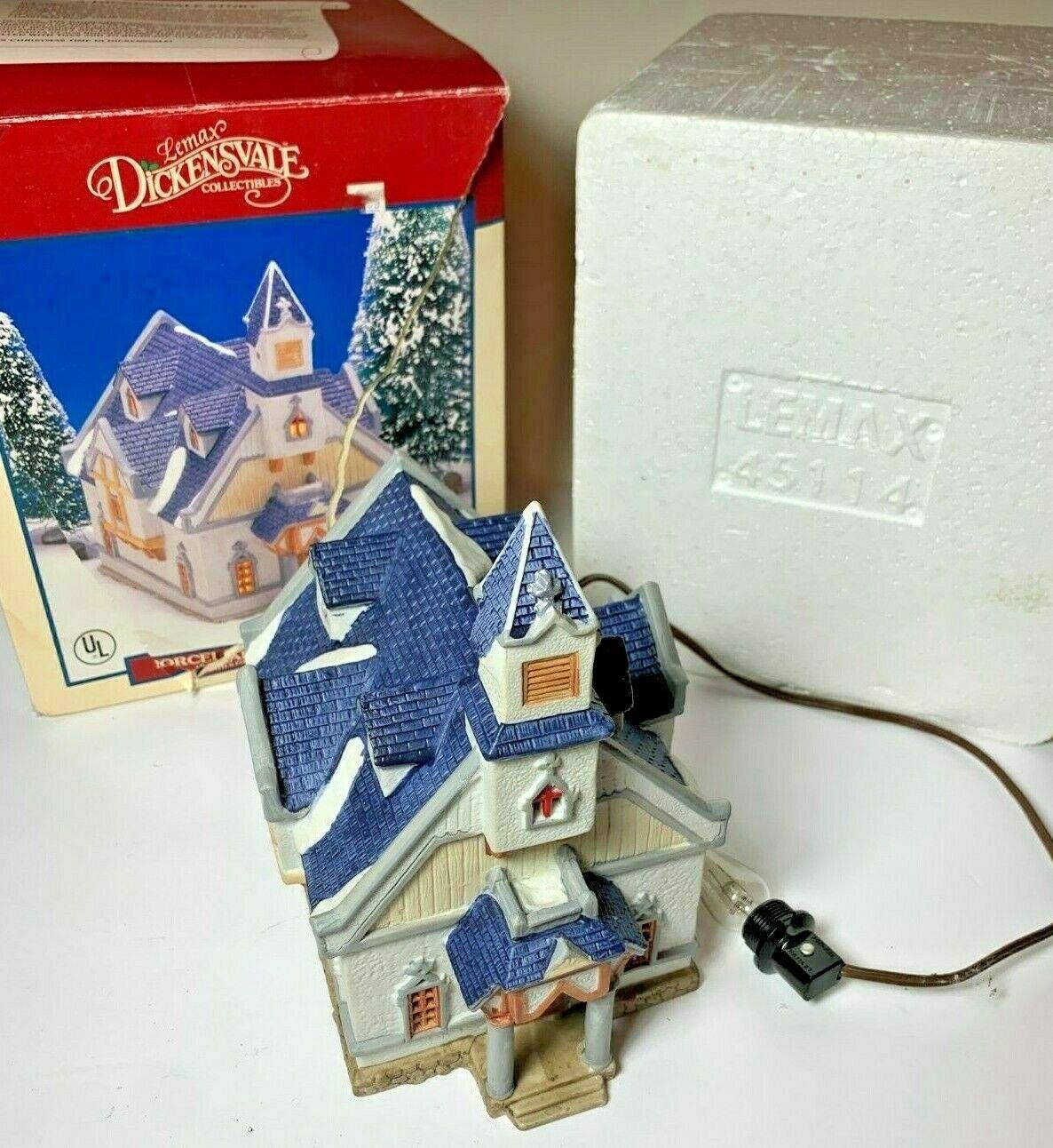 Vintage 1994 Lemax Dickensvale Blue Porcelain Lighted House Christmas   - $19.95