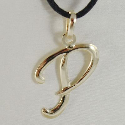 PENDANT YELLOW GOLD 18K WITH INITIAL P LETTER P GLOSSY 2,5 CM WITH CORD
