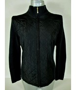CROFT & BARROW womens PL L/S black ribbed knit QUILTED zip SWEATER jacke... - $45.88