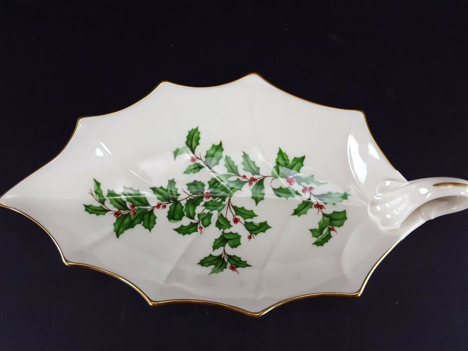 "LENOX China Holiday Dimension 10-1/8"" Leaf Dish Handled Dinnerware image 3"