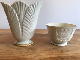Lenox Ivory Porcelain Vase and Bowl Scallop Edge Top Gold Trim Candy Dish - $39.06 CAD