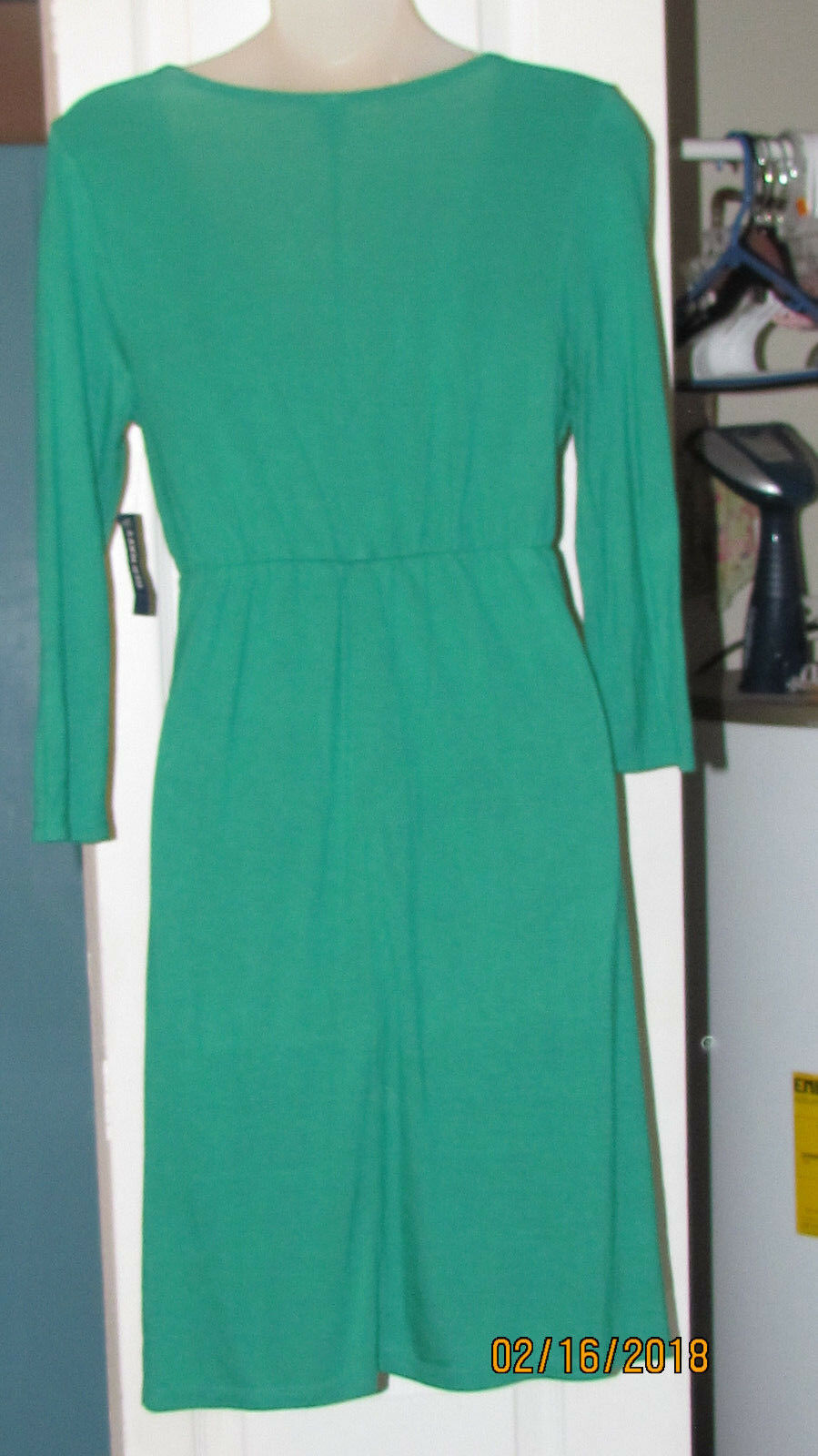 OLD NAVY WOMENS X SMALL GREEN COTTON TEE SHIRT MATERIAL DRESS NWT LOW CUT SEXY