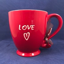 2006 Starbucks Red LOVE Coffee Mug Cup Valentines Day Heart Charm Ribbon & Bow - $49.49
