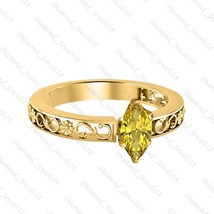 Solitaire Marquise Shape Yellow Sapphire 14K Yellow Gp Silver Engagement... - £64.17 GBP