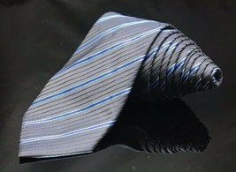 ALFANI - Blue Black STRIPED - SILK NECK TIE Skinny - $6.44