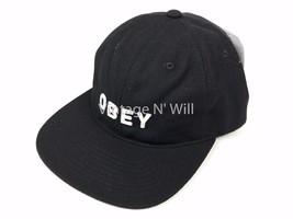 OBEY Afton Black/ White Wool Blend 6 Panel Felt Letter Applique Hat Cap - $21.99