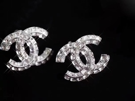 AUTHENTIC CHANEL LARGE CRYSTAL CC STRASS RHINESTONE EARRINGS CLIP ON SILVER MINT image 8