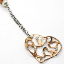 SILVER 925 NECKLACE, PEARLS, HEART PINK PENDANT, MILLED SATIN WAVY image 3