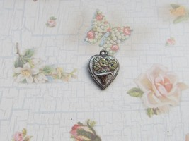 Vintage Sterling silver enameled puffy heart charm- FLOWER BASKET - $25.00