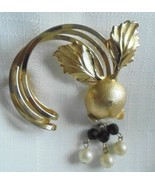 Stunning Large Vintage Gold Tone Brooch with Faux Pearl and Lucite Beads - $6.95